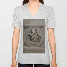 Halloween Witch on Broom 3d Stone Carving Photo Unisex V-Neck