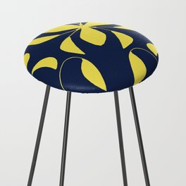 Leafy Vines Yellow and Navy Blue Counter Stool