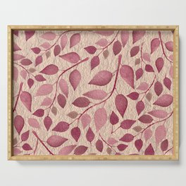 Berry Pink Leaves On Brushed Gold Serving Tray