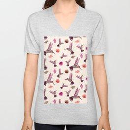 Hummingbird & Tropical Leaves - Soft Pastel Pattern Unisex V-Neck