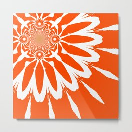 The Modern Flower Orange Metal Print