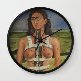"Frida Kahlo Exhibition Art Poster - ""The Broken Column"" 1988 Wall Clock"