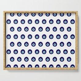 Blue Evil Eye Bead Pattern Serving Tray