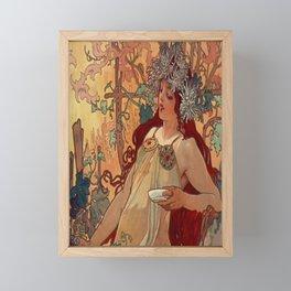 1896 AUTUMN Fall - 4 Seasons Alphonse Mucha Art Nouveau Goddess Vintage Lithograph French AUTOMNE Beauty Nature Art Wall Hanging Decor Print Framed Mini Art Print
