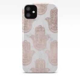 Modern rose gold floral lace hamsa hands white marble illustration pattern iPhone Case