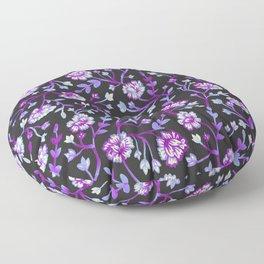 Watercolor Peonies - Black & Violet Floor Pillow