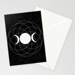 Triple Goddess Moon in Black and White Stationery Cards