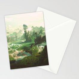Neverland - Peaceful fantasy landscape fairy kingdom illustration Stationery Cards