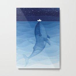 Whale blue ocean Metal Print