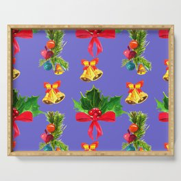 Christmas Red Bows & Bright Bells Festive Pattern Serving Tray