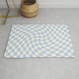Check II - Baby Blue Twist — Checkerboard Print Rug