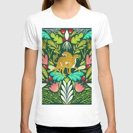 Cheetah Couple Illustration, Wild Cat Jungle Nature, Mandala Painting, Wildlife Tropical Tiger T-shirt