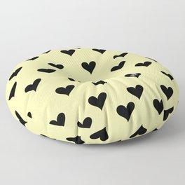 Retro Hearts Pattern Pastel Yellow Floor Pillow