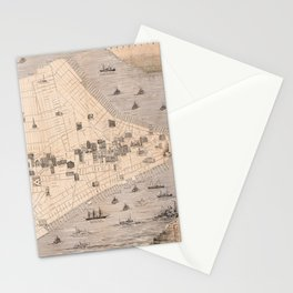 Vintage NYC Monument & Landmarks Map (1870) Stationery Cards
