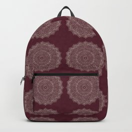 Rose Gold Marble Mandala Burgundy Textured Backpack