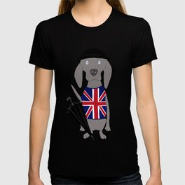 Brit Weim British Grey Ghost Weimaraner Dog Hand-painted Pet Drawing T-shirt