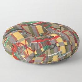 Pierced, Torn & Stitched Tartan Plaid by Nettwork2Design - Nettie Heron-Middleton Floor Pillow