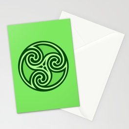 Celtic Triskele Ornament,Lime & Emerald Green Stationery Cards
