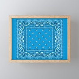 Bandana - Paisley - Blue - White Framed Mini Art Print
