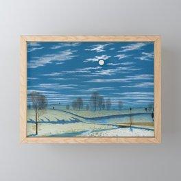 Winter Scene in Moonlight and Stars, pastoral landscape painting by Henry Farrer Framed Mini Art Print
