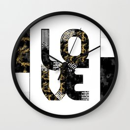 Graphic Art Gold LOVE | black Wall Clock