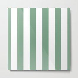 Sage Green & White Vertical Cabana Tent Stripes Metal Print