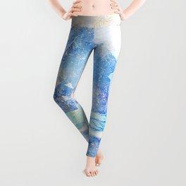 Blue Ice Mountains :: Fine Art Collage Leggings