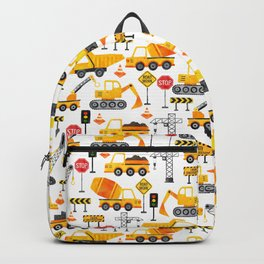Watercolor Construction Vehicles Backpack