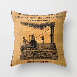 Advertisement for the Philadelphia workshops of William Norris Throw Pillow