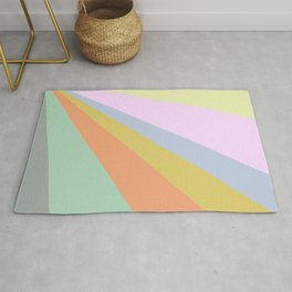 Pastel Rainbow Sunburst Illustration Rug