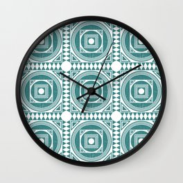 Mediterranean Pattern 4 - Tile Pattern Designs - Geometric - Teal - Ceramic Tile - Surface Pattern Wall Clock
