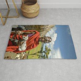 Maasai 4279 Tribesman with Goat Rug