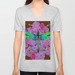 EMERALD DRAGONFLIES  PINK ROSES COFFEE BROWN Unisex V-Neck