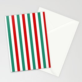 Peppermint Stripes Red Green and White | Medium Vertical Stripes Stationery Cards