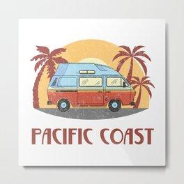 Pacific Coast  TShirt Vintage Caravan Shirt Travel Road Gift Idea Metal Print