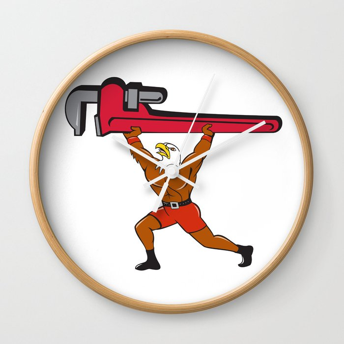Bald Eagle Plumber Monkey Wrench Isolated Cartoon Wall Clock By Patrimonio Society6