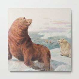 Sea Lions by Charles Collins RBA - Reproduction from original under CC0 Metal Print