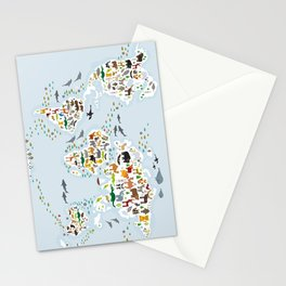 Cartoon animal world map for children and kids, Animals from all over the world, back to school Stationery Cards