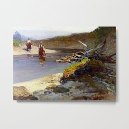 """""""Crossing the Snowy River"""" by Frank Tenney Johnson Metal Print"""