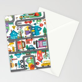 Cute Town Road Map  Stationery Cards