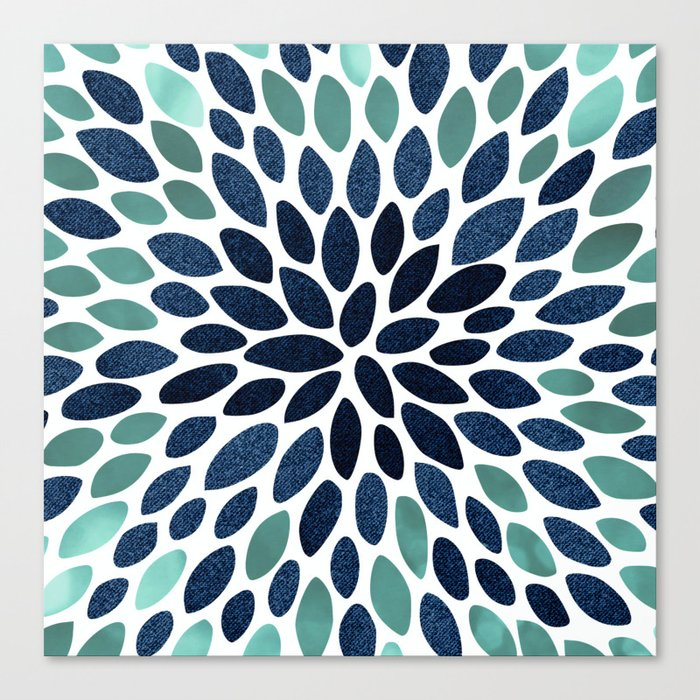 Flower Bloom, Aqua and Navy Leinwanddruck