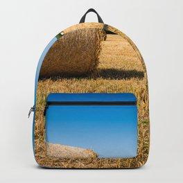 Hay bales in France Backpack