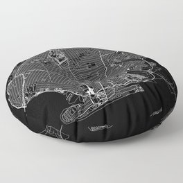 Brooklyn Black Map Floor Pillow