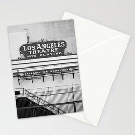 Los Angeles Theatre, Downtown Los Angeles Black and White Photography Stationery Cards
