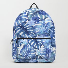 Blue tropical pattern  (monstera leaves and bird of paradise flowers Backpack