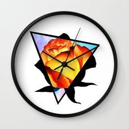 Fire Rose Triangle Wall Clock