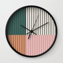 Color Block Lines Abstract V Wall Clock