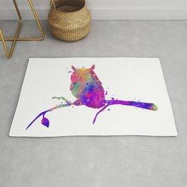 Owl Art Birds Gift Colorful Watercolor Art Animal Lovers Art Gift Wildlife Nature Rug