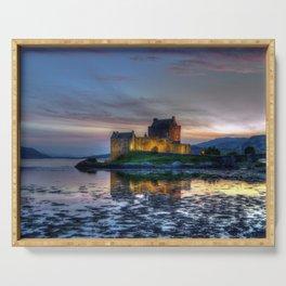 Sunset over Eilean Donan Castle, Scotland Serving Tray