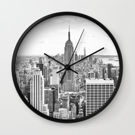 New York City, Manhattan (Black & White) Wall Clock